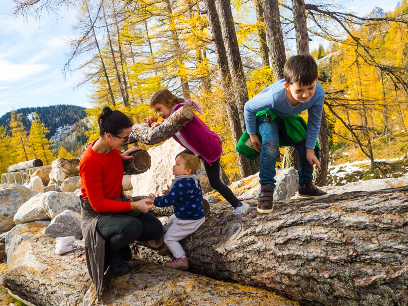 Familienurlaub am Bauernhof Kinder auf Baumstamm